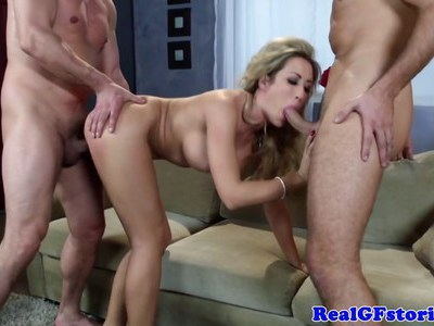Busty housewife facialized twice in threeway