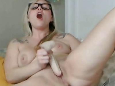 Busty College Girl Sucks Huge Dildo