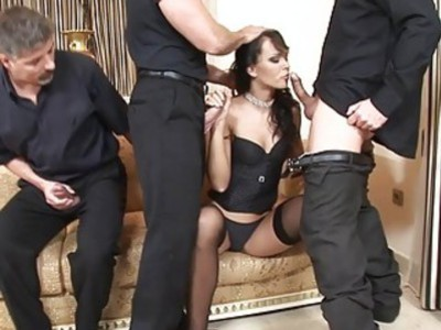 Hot Euro girl taking on 3 big fat cocks