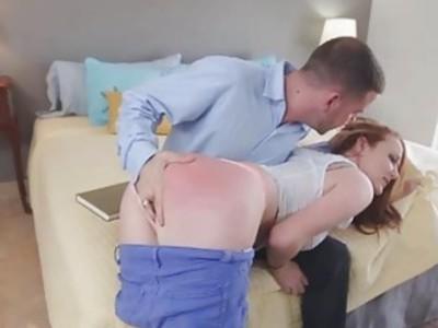 Brunette Leigh got a swollen pussy after being banged hard