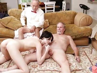 Stunning babe Alex Harper anal fucked by old man