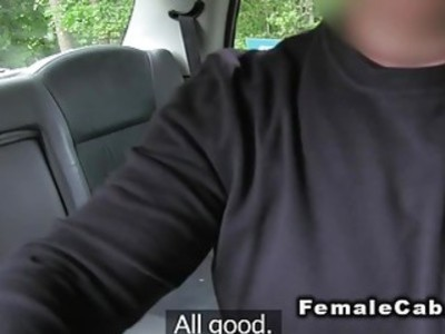 Colegues fucking in fake taxi in public
