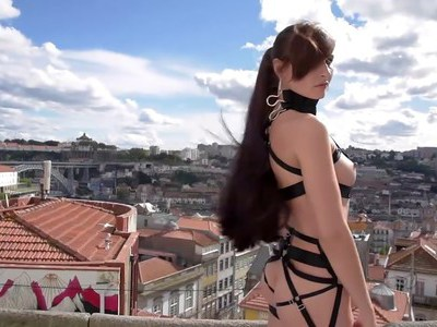 Jeny Smith airing her sexy strap dress in Portugal