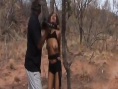 African Slave Gets Abused By Two Masters Outdoors