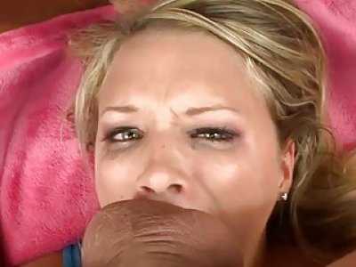 Beautys face is filled with fellas sticky glazed