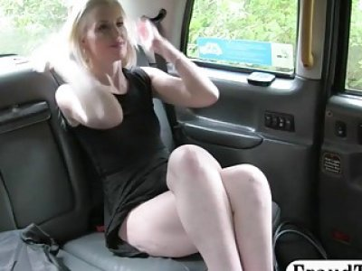 Perky boobs blonde analyzed by the driver in the woods