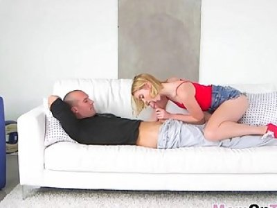 Mom and daughter combo Alexis Fawx and Chloe Couture take care of stud's hard cock