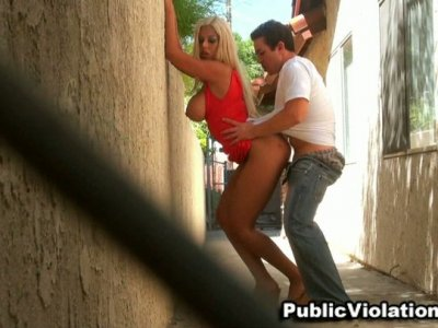 Busty latina Bridgette B gives fanastic blowjob in public