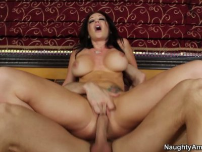 Busty brunette Jayden Jaymes rides dick with her shaved slit