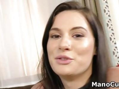 Brunette babe enjoys facial cumshot