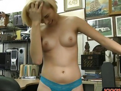 Short blond hair amateur nailed by pervert pawn guy