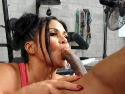 Kailani Kai is sucking the black dick in the gym