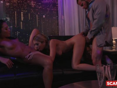 Glamorous girlfriends fuck his brains out in an intense threesome