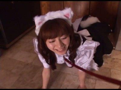 Delicate housemaid Aimi Hoshii is a very nasty girl