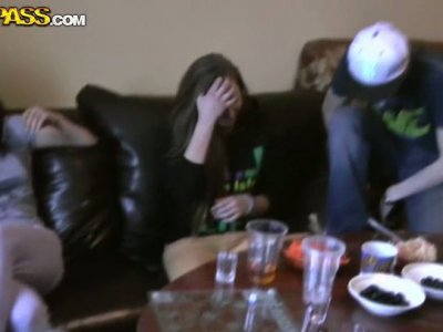 Horny students are drinking hard drinks on a party