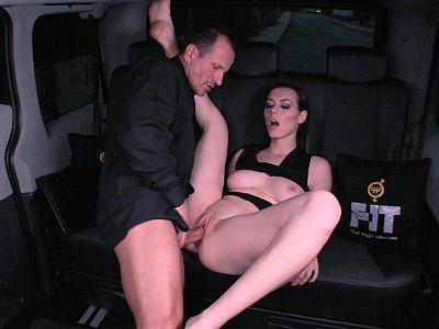 Ukranian girl fucks chauffeur on a backseat