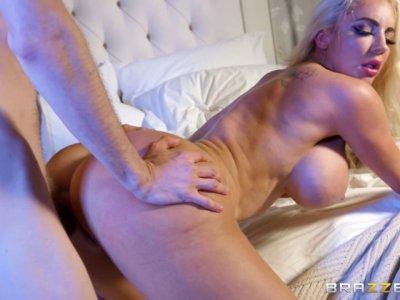 Bimbo fuckdoll takes Danny's huge cock while her hubby sleeps