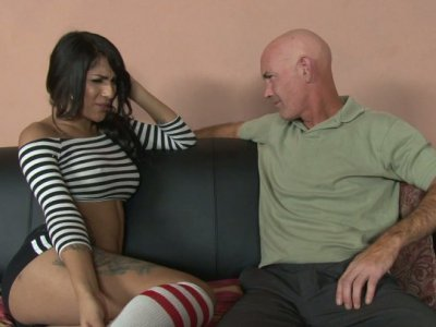 Magnificent brunette shemale Jane Marie blows cock of one guy