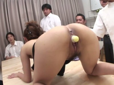Anna Mizukawa blows real small cocks and test sex toys with her pussy
