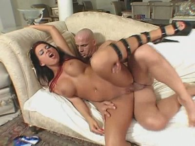 Brunette hottie Eva Angelina hops on a hard dick with her silky pussy