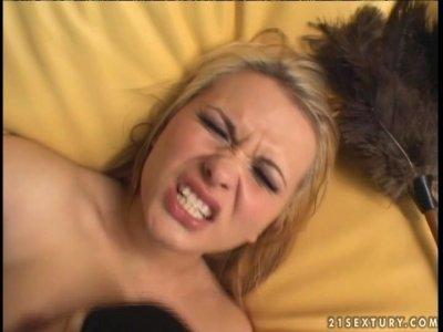 Blond head in stockings Katja Kassin gets her tight anus drilled