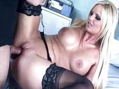 Big boobed blonde fucking in sexy black nylons