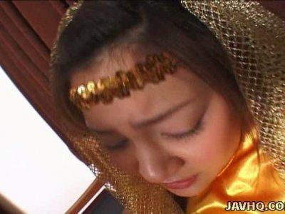 Chubby bitch Hikari Koizumi fucking missionary style fully clothed