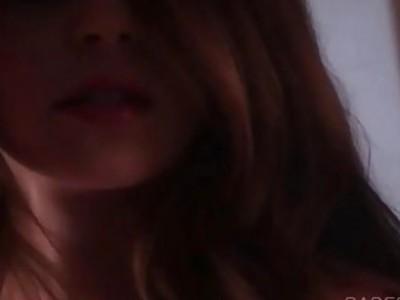 Dream redhead girl spreading hot legs by the window