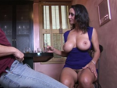 Bar is always opened for busty brunette waiting for a fuck