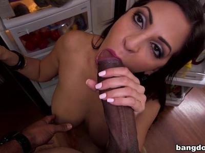 Hot Latina with big tits naked outdoors