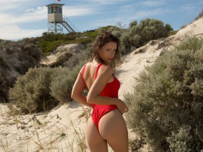 Sexy lifeguard stripping down