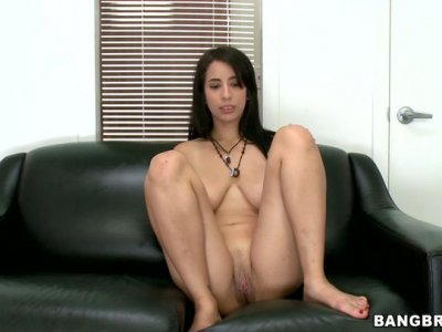 Natural brunette seductress Nina Lopez gives head and fucks doggystyle