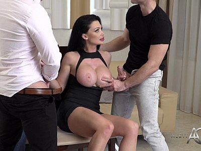 Huge boobs MILF and three hard dongs
