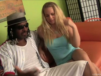 Long haired nympho Britney Young sucks a tasty black Jack Napier's lollicock