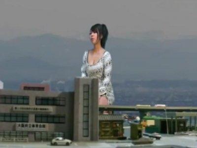 Giantess asian in dress crushing city maybe