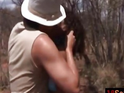 African teen riding sucking white cock outdoors