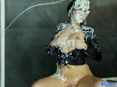Bukkake euro babe at gloryhole gets drenched