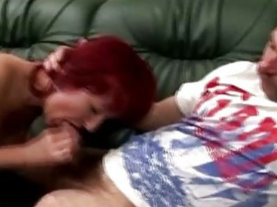 Mature redhead juggy mounts an old cripple to satisfy her horny cunt