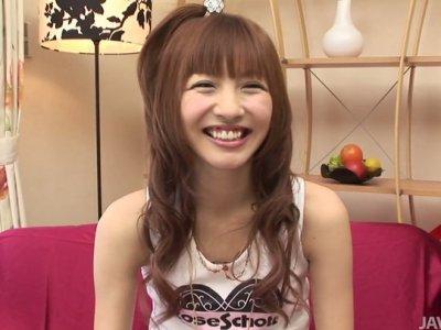 Slutty teen Aisaki Kotone is hesitant to flash her flat tits