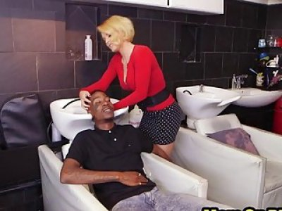 Hot hair stylist gets pussy doubled penetrated by BBC