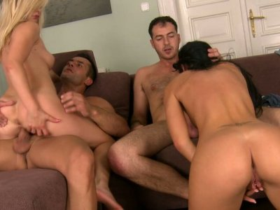 Foursome orgy with two cuddly and sextractive babes