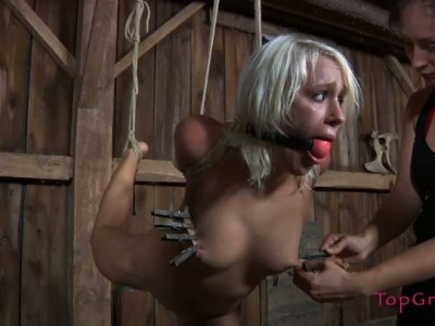 Pins punishing for poor light haired BDSM slave Sophie Ryan