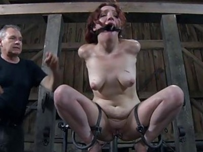 Bounded villein hotty is getting a twat punishment