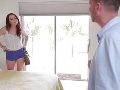 Red haired chick Leigh Rose gives blowjob and twat nailed
