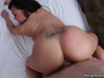Exotic slut Gia Grace gets hammered hard doggystyle.
