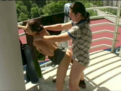 Cheesy whore is fucking a stranger on a terrace
