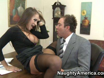 Busty chestnut Nika Noir enjoys office fuck