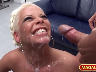Blonde German slut in amateur gangbang
