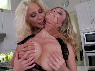 Ardent lesbian Anita Dark eats the wet pussy of her girlfriend tenderly