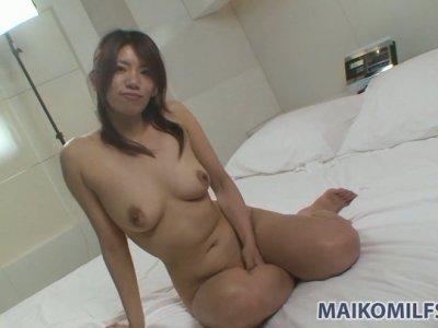 Shy girl Rikako Yokoyama sucking dick in a bath tub and gives titjob
